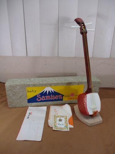 "Vintage Baby Samisen Shamisen 15"" Miniature Toy Decor Instrument JAPENESE 1960"