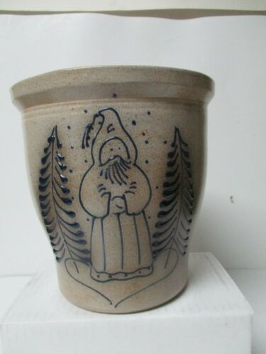 1987 Eldreth Pottery of PA Crock w Christmas Belsnickle & Trees