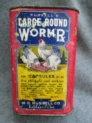 VTG CHICKEN & TURKEY LARGE ROUND WORM RX CAN I.D. RUSSELL CO. KANSAS CITY, MO.