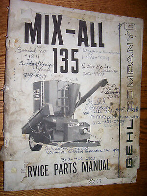 Vintage Gehl Co Parts Manual- 135 Mx Feed Grinder - Mixer- 1983