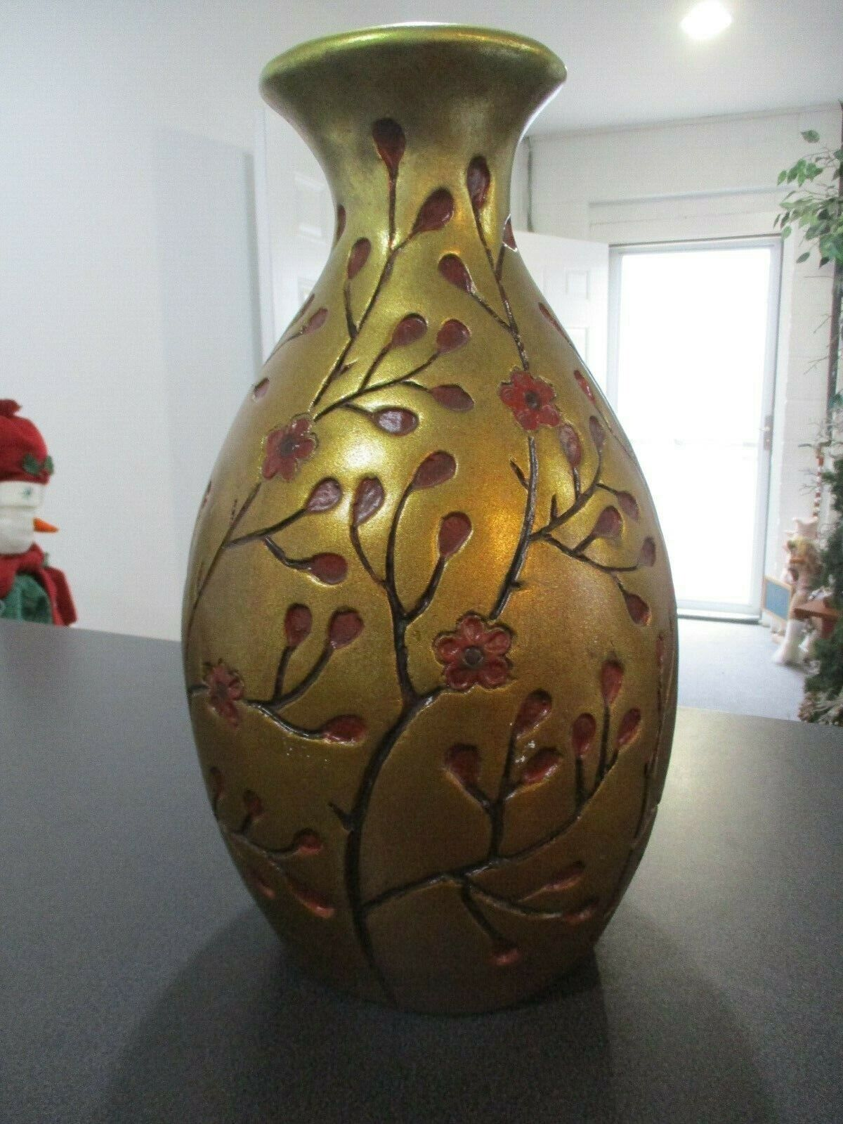 "Pottery Barn 18.5"" Gold Cherry Blossom Vase"