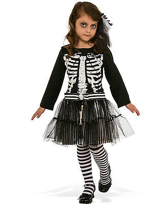 Little Skeleton Girls Child Black & White Costume Dress Large - Little Girl Zombie Costume