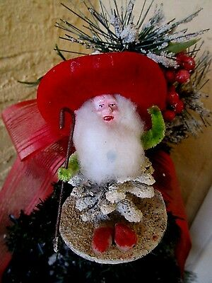 VINTAGE RARE ELF/GNOME PINECONE&PUTZ&MICA RED HAT COMPO FACE XMAS DECORATION