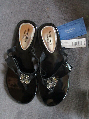 Simply Vera Vera Wang Black w Jewel Embellishment Sandals M (Jewel Embellishment)