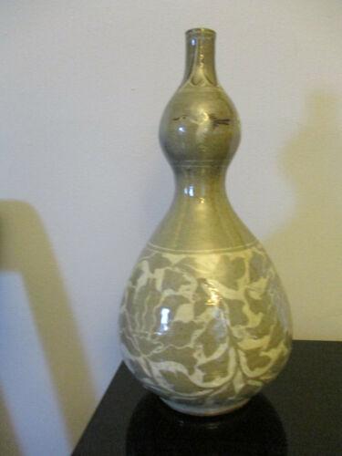 Vintage Korean Celadon Pottery Gourd Vase Hand Painted Cranes Incised Flowers!