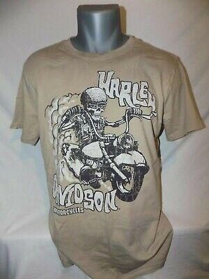 Harley Davidson Shirt Tan L Large Retro Skeleton Rider Skull Motorcycle