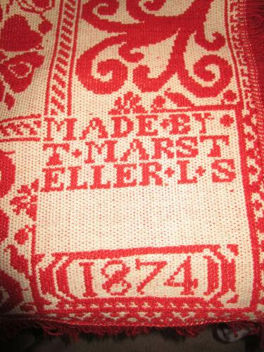 ANTIQUE JACQUARD COVERLET SIGNED T Marst Eller L.S Dated 1874 Beige and Orange