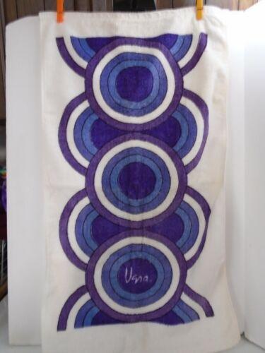 Vtg Mid Century PURPLE Pop OP Art Vera Neumann Geometric Bath Hand Towel