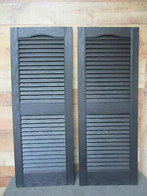 BUILDERS EDGE Black Vinyl Louver Exterior Window Shutters - 1 Pair - 14-1/2 x 39