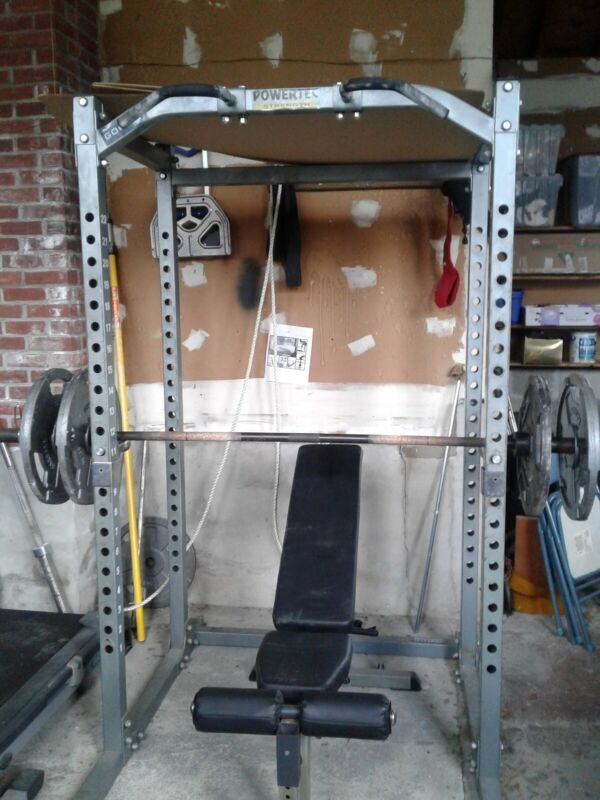 Powertec Power Rack - With 360 Lbs 8x45Lb Plates and elitefts Texas Bar