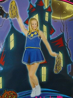 Pep Kostüm (Pep Squad Cheerleader Girl's Halloween Costume Blue & Gold Uniform Large #N4)