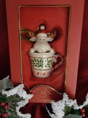 Lenox Holiday Peek-A-Moose Ornament NIB