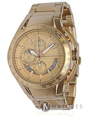Brand New Mens Armani Exchange A X  Ax1407  Gold Tone Stainless Steel Watch Sale