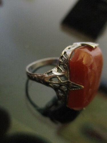 Antique Art Deco Edwardian Carnelian Glass Silver Tone Filigree Ring Size 5!