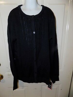 (CHAPS SCHOOL UNIFORM NAVY BLUE BUTTON DOWN CARDIGAN SWEATER SIZE XL NEW )