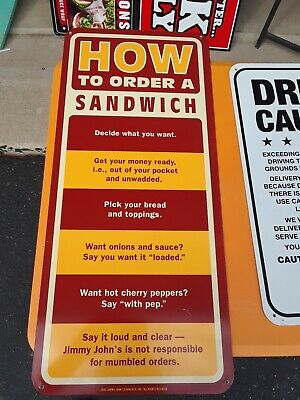 Vintage Jimmy Johns Metal Sign #17-How To Order A Sandwich...