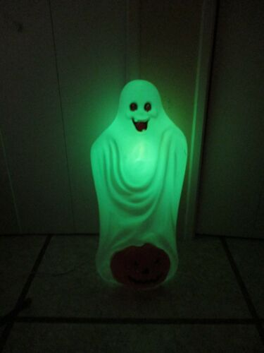 Vintage Spooky Sheet Ghost with Pumpkin Lighted Halloween Blow Mold Decor by TPI