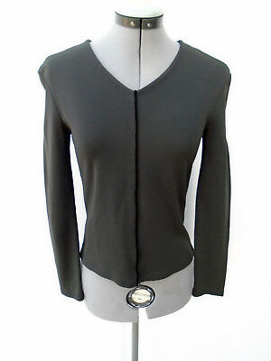 Vintage GIANNI VERSACE Versus Gray Long Sleeve V-Neck Top Size 26/40