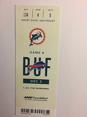 MIAMI DOLPHINS VS BUFFALO BILLS DECEMBER 2, 2018 TICKET STUB