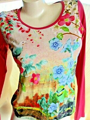 Oilily Art To Wear Bright Pink Exotic Floral Birds Shirt Women's M Long Sleeve