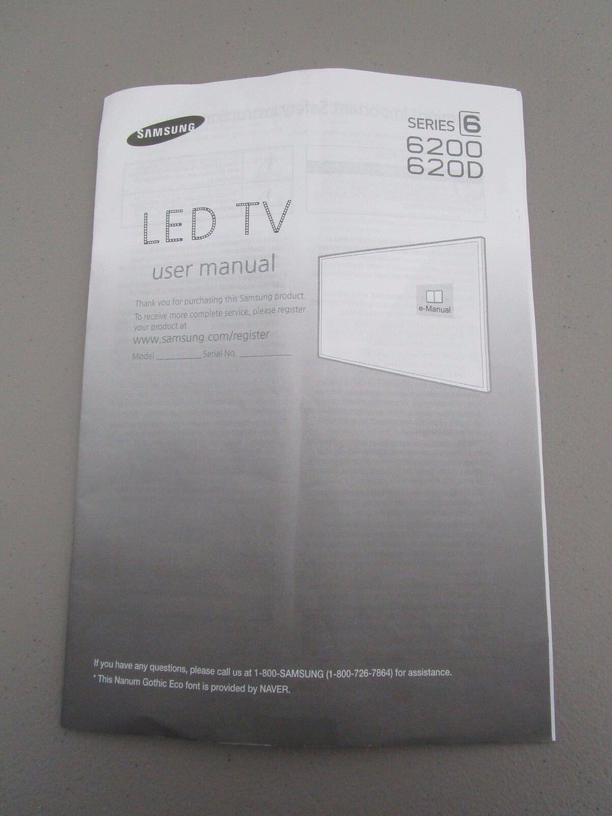 SAMSUNG LED TV SERIES 6 6200 620D USER MANUAL NEW