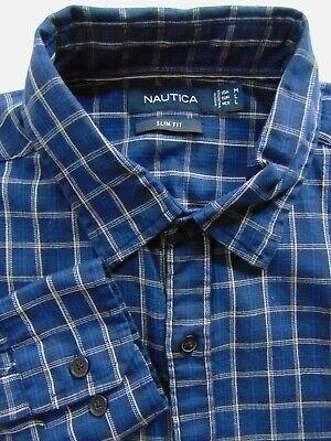 NEW Nautica Medium Slim Fit Shirt Blue Navy Plaid