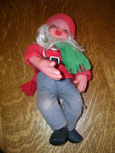 "Vtg 11"" Christmas Santa Hugger Posable Red  Green Felt Antique wire bodyNorway"