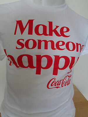 VINTAGE HANES COCA-COLA MAKE SOMEONE HAPPY SMALL WHITE T-SHIRT NEW W/O TAGS DS