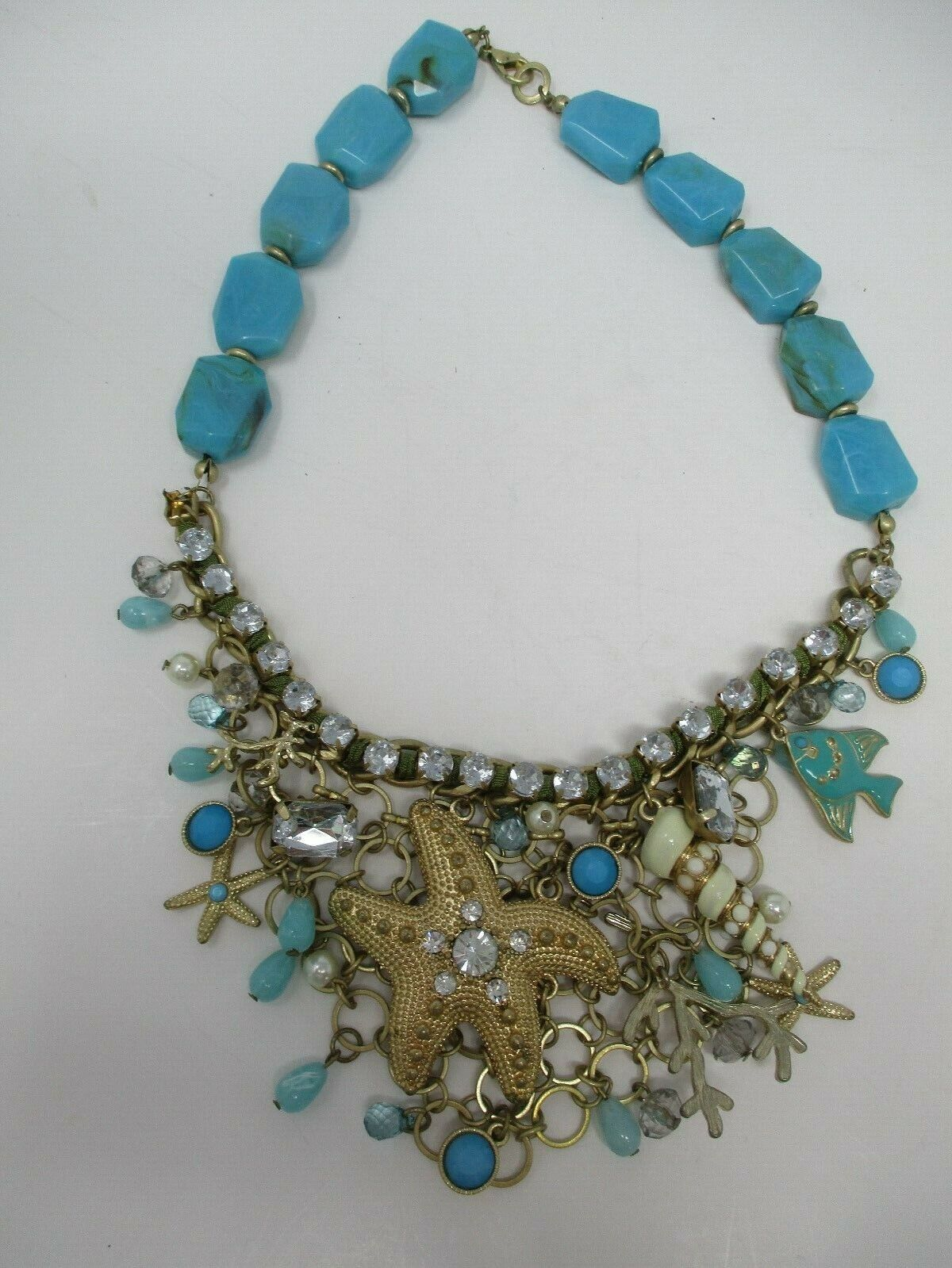 Vintage Aqua Bead And Rhinestone Necklace With Nautical Charms
