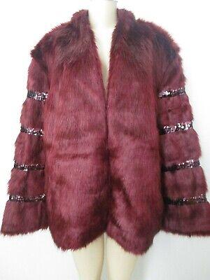 JOAN  BOYCE BURGUNDY SEQUIN EMBELLISHED FAUX FUR LONG SLEEVE COAT SIZE L - NWT Embellished Faux Fur
