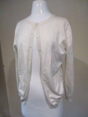 NINA RICCI white lace sides button front silk cashmere cardigan sweater sz XL  Lace Silk Sweater