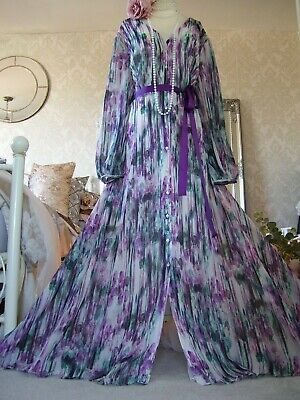 Stunning Jenny Packham size 20 stripe floaty purple maxi dress wedding occasion