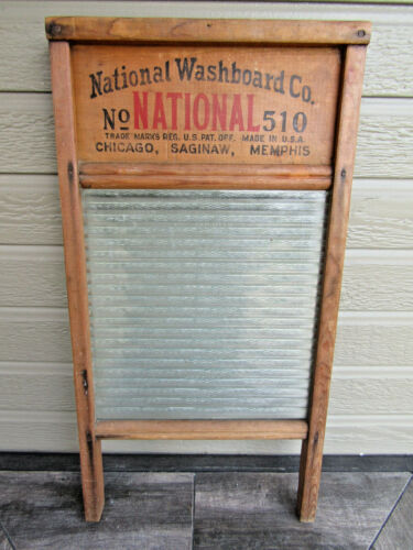 Vintage Atlantic National Washboard Co. No. 510 Glass and Wood