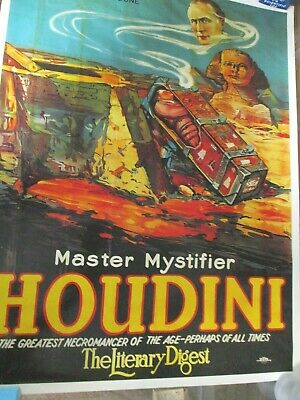 "Houdini Buried Alive Poster Lee Jacobs Vintage 27"" x 21"""