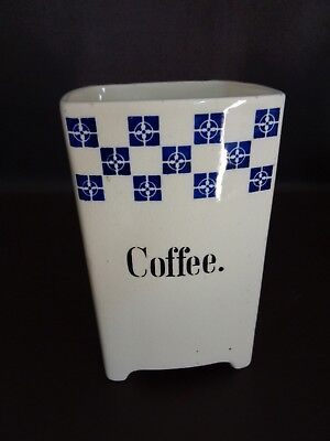 Vintage Ceramic Blue & White Coffee Canister Made in Germany (Cat.#2B067)