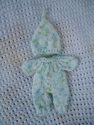 "Doll Clothes White pastels Hand knitted romper set for baby Berenguer 8"" 7"""