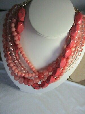 Banana Republic Necklace Shades of Pink & coral Color 5 strands Large & small be Sunglasses Color Coral