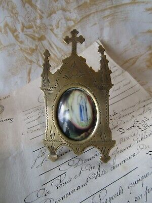 PRETTY ANTIQUE FRENCH BRASS HANDPAINTED CERAMIC RELIGIOUS ICON PICTURE