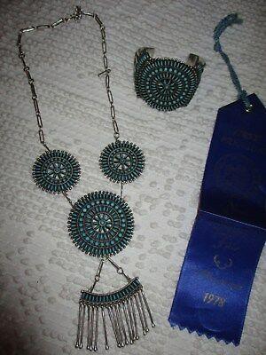 Zuni 1978 Irma Octavius Seowtewa Needlepoint Squash Blossom Necklace w/Bracelet