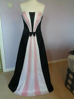 Ballgown Size 8 Jessica McClintock Black Satin With White & Pink Stripe Front