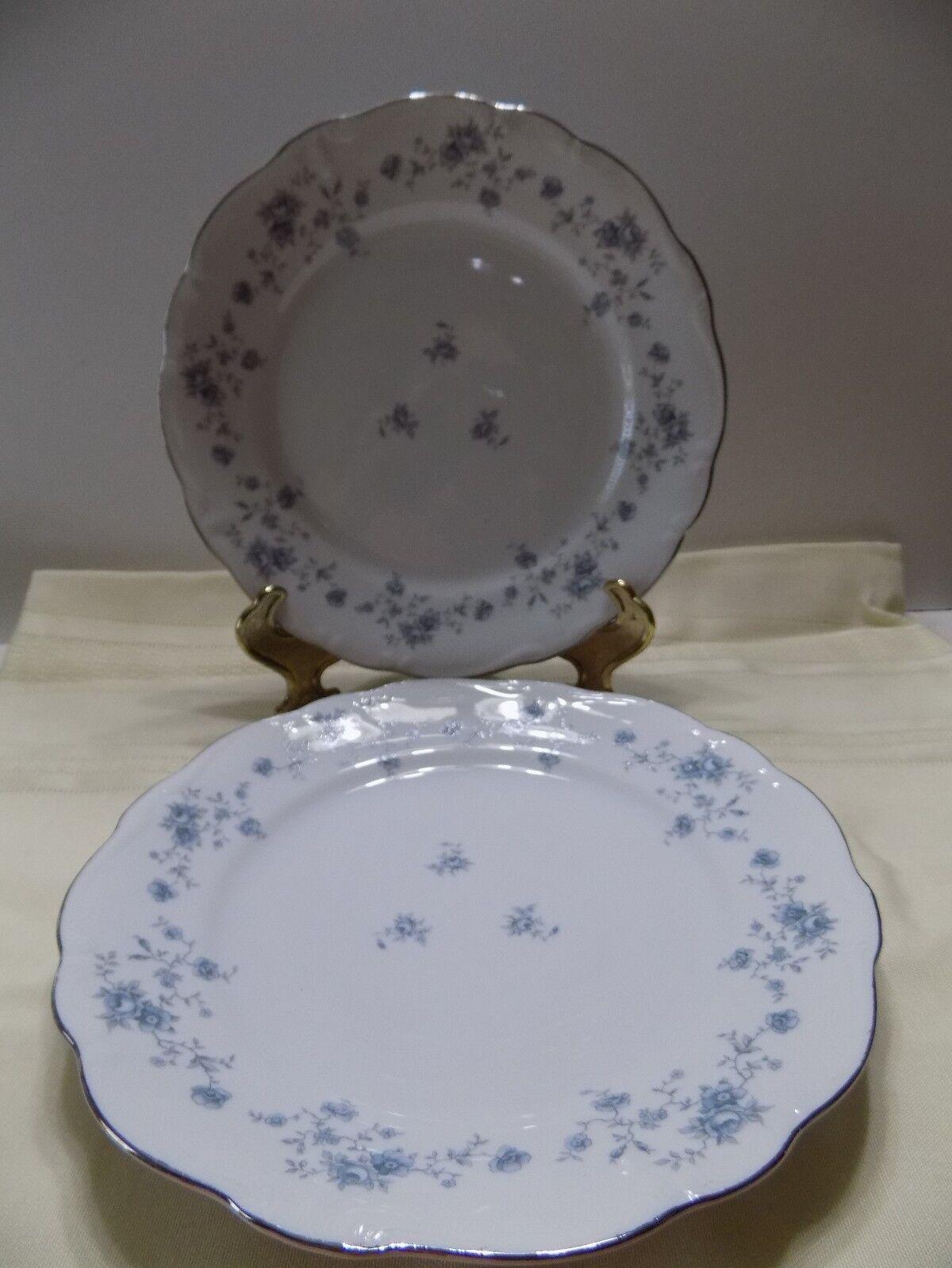 Johann Haviland Bavaria Germany 2 Dinner Plates Blue Garland Roses Flowers