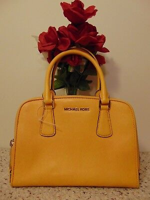 Michael Kors Women's Reese Large Double Zip Satchel handbag yellow leather purse