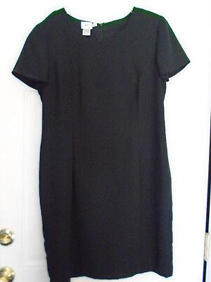 Vintage Jacqueline Ferrar A Line Classic Basic Black Dress Above Knee ~ Preloved