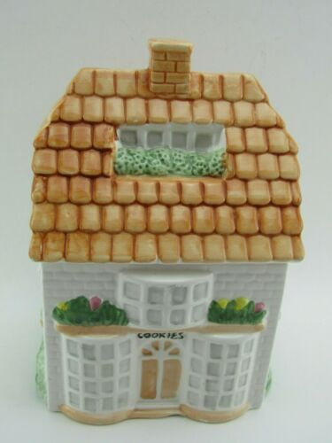 Vintage Ceramic House Shaped Cookie Jar Canister