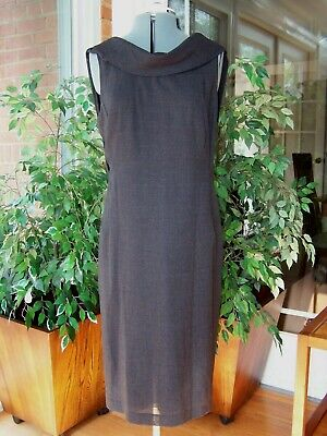 Ports 1961 Classic Summer Wool Sheath Dress with Attached Scarf Gray Size 10