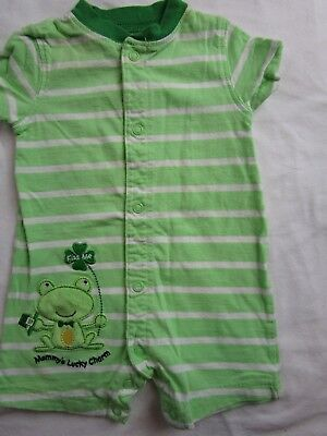 Baby Boy 3 month Green striped St. Patrick's Day outfit romper J. O. Y. CARTER'S