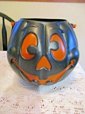 Grand Venture Halloween Black Pumpkin Candy Bucket or Trick or treat Pail 1997