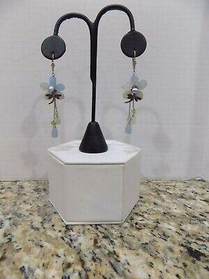 Gray Blue Chalcedony Pearl Peridot Flower Drop Earrings Lever Back W Dragonflys ()