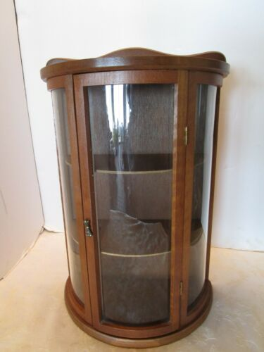 Wall Wood Curio Cabinet Curved Glass Mahogany 2 adjustable shelves display 18¾""