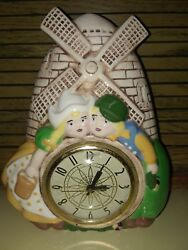 Vintage Wall Clock Porcelain Electric Dutch Boy and Girl Holland Works
